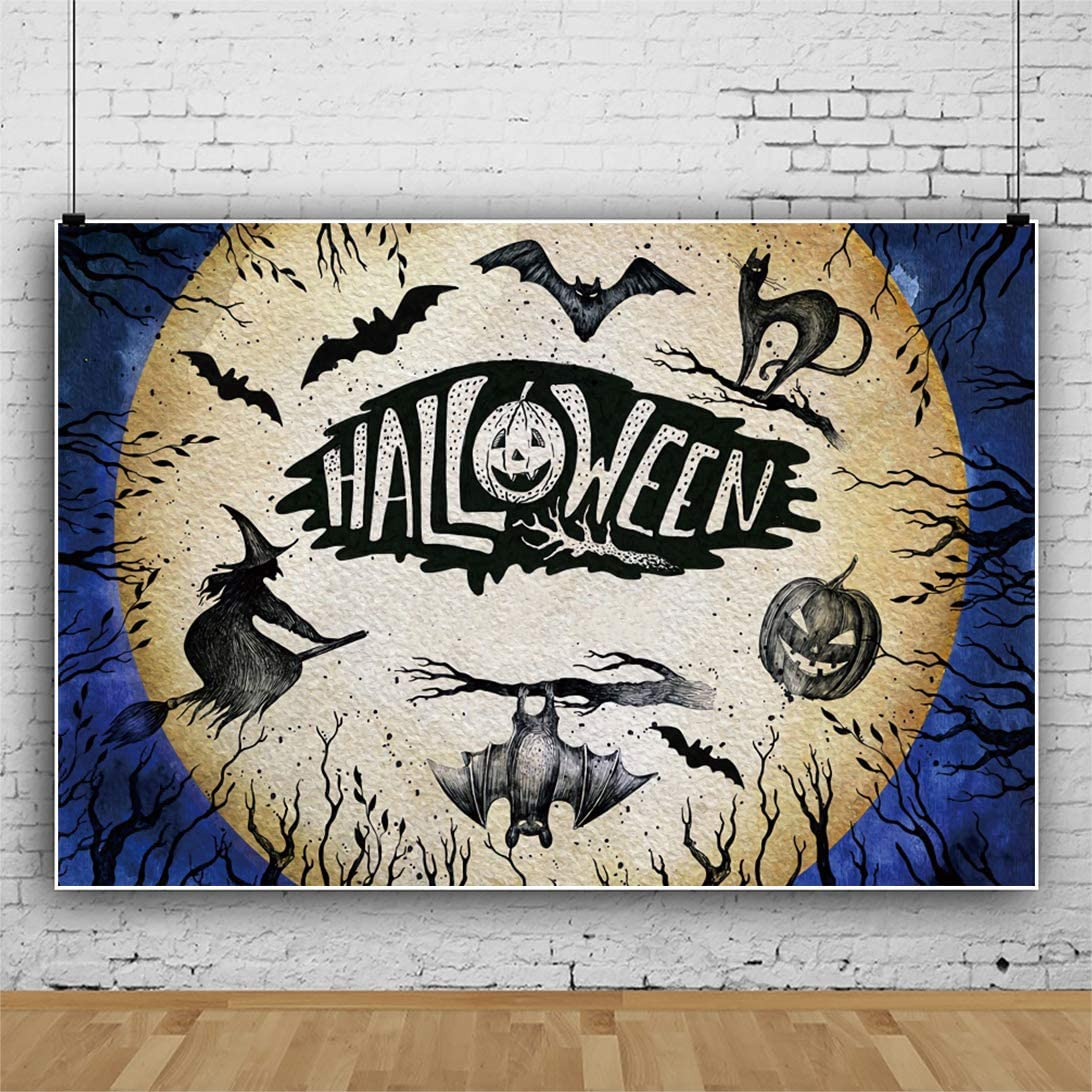 Yeele Halloween Photography Backdrop 10x8ft Deadwood Style Wizard Black Cat Pumpkin Background Trick or Treat Events Acting Show Photo Portrait Studio Props Digital Wallpaper