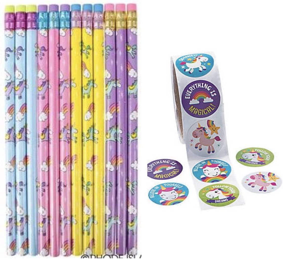 Pretty Unicorn Pencils & Stickers - Party Favors - Classroom Giveaways - Teacher Rewards - Pastel (24): Office Products
