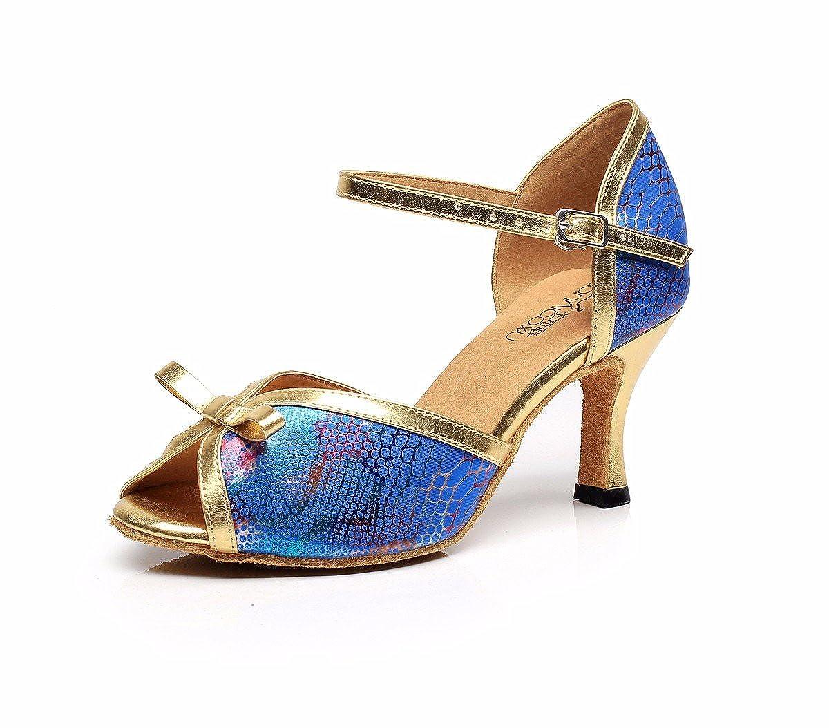 Bleu JINGXINSTORELes chaussures de danse salsa latine Muster Serpent intérieur professionnel sandales 37 EU