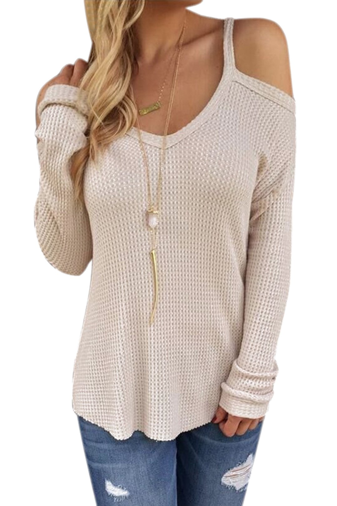 Yoins Women V Neck Long Sleeve Tops Cold Shoulder Knitted Sweater Off White XL