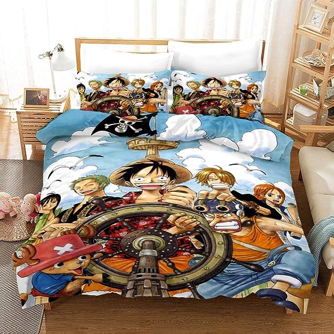 Yomoco - Juego de ropa de cama de One Piece, funda de edredón y funda de almohada, microfibra, impresión digital 3D, juego de cama de tres piezas, 06, Single 135x200cm: Amazon.es: Hogar