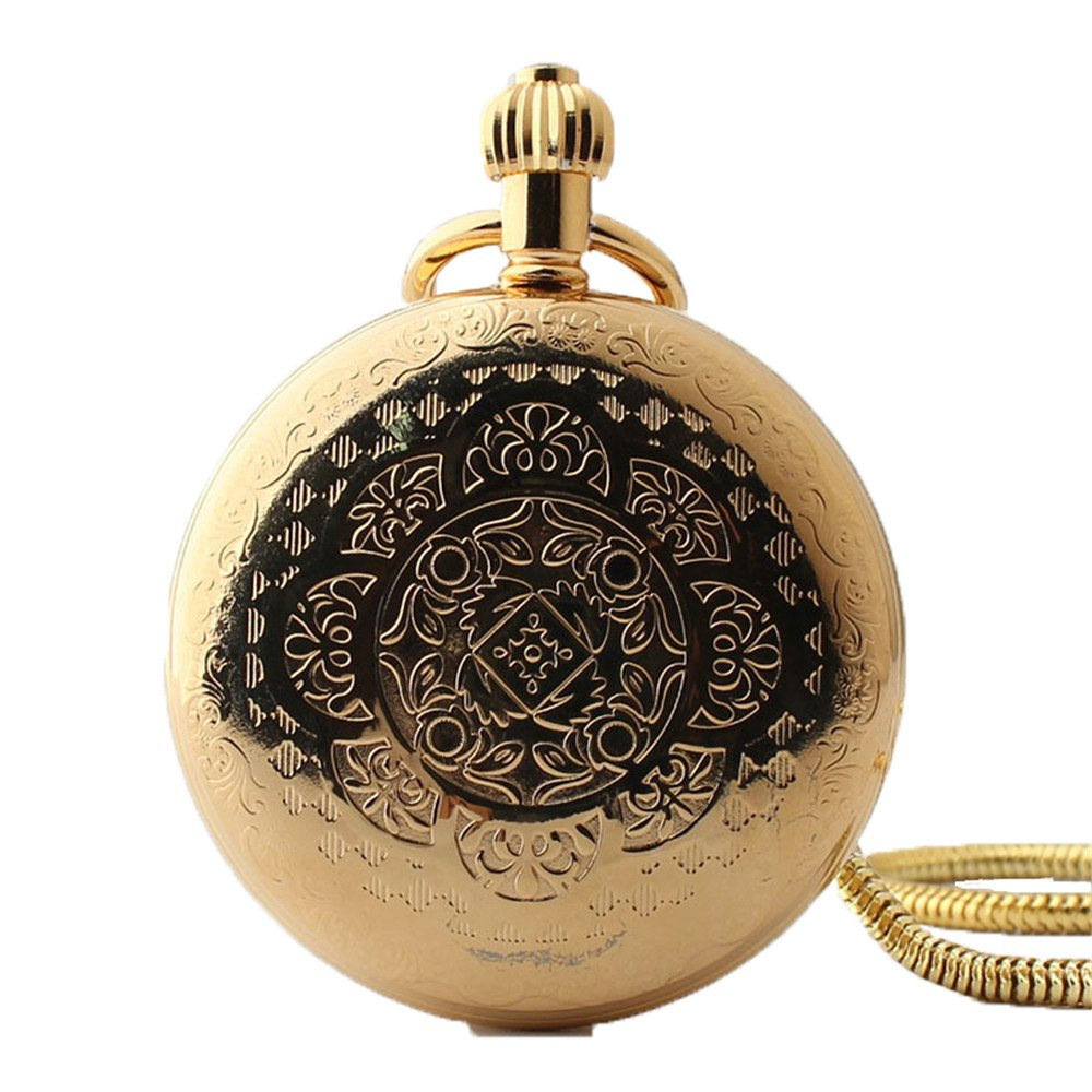 Zxcvlina Classic Smooth Men Women Golden Retro Pocket Watch Creative Carving Roman Numberals Mechanical Pocket Watch with Chain Suitable for Gift Giving