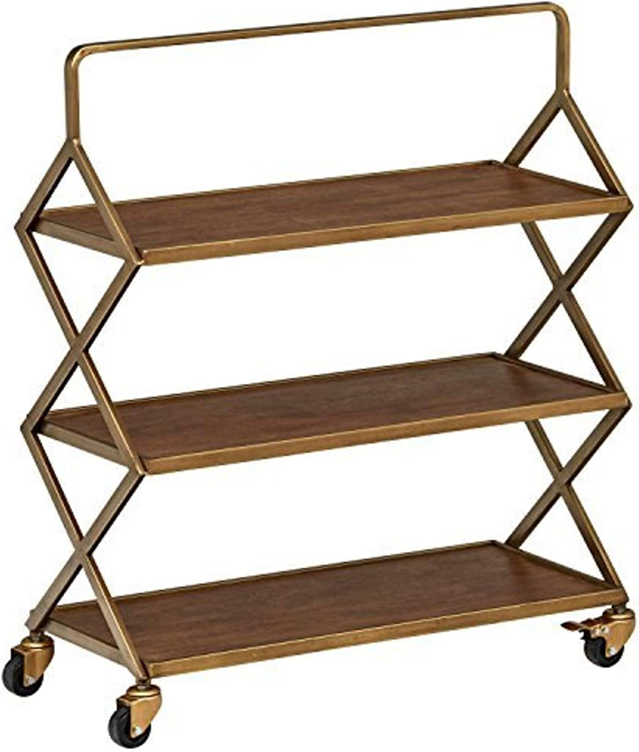 Amazon Brand – Rivet Mid-Century Modern Wood and Metal 3-Tiered Kitchen Bar Cart with Wheels, 27.9