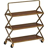 """Amazon Brand – Rivet Mid-Century Modern Wood and Metal 3-Tiered Kitchen Bar Cart with Wheels, 27.9""""W, Natural and Gold…"""