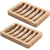 AmazerBath Bamboo Wood Soap Dish, Bar Soap Holder for Shower Bathroom, Kitchen - 2 Pack (Natural Color)