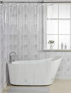 """AmazerBath 12 Gauge Heavy Duty Crystal Clear Thick Shower Curtain Liner with Heavy Duty Clear Stones and 12 Rust-Resistant Grommet Holes Waterproof Bathroom Plastic Shower Curtain Liner-72 W x 72"""" H"""