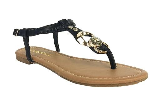 bd80546bf RCK Bella Womens Atina-1 T Strap Front Gold Metallic Decoration Flat Sandal