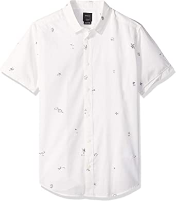 RVCA Hombre M503QRSC Manga Corta Camisa de Botones - Blanco - Small: Amazon.es: Ropa y accesorios
