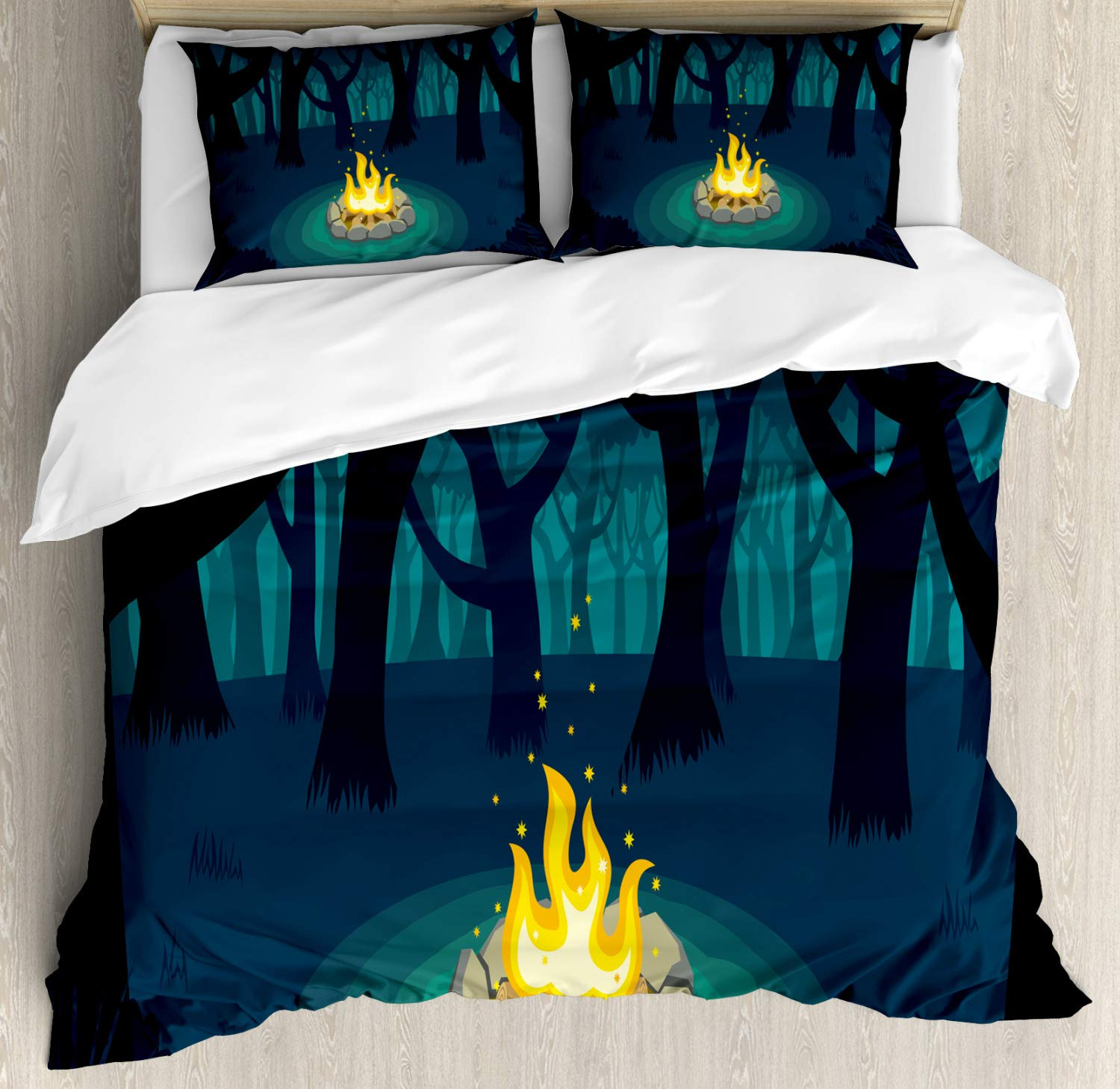 Ambesonne Happy Camper Duvet Cover Set, Cartoon Illustration of Lonely Campfire in Woods at Night, Decorative 3 Piece Bedding Set with 2 Pillow Shams, Queen Size, Blue Teal