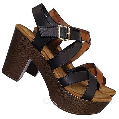 78714bee2f0e Delicious Sculpted Retro Wood Block Heel Sandal - Lightweight Clogs Platform  Shoe