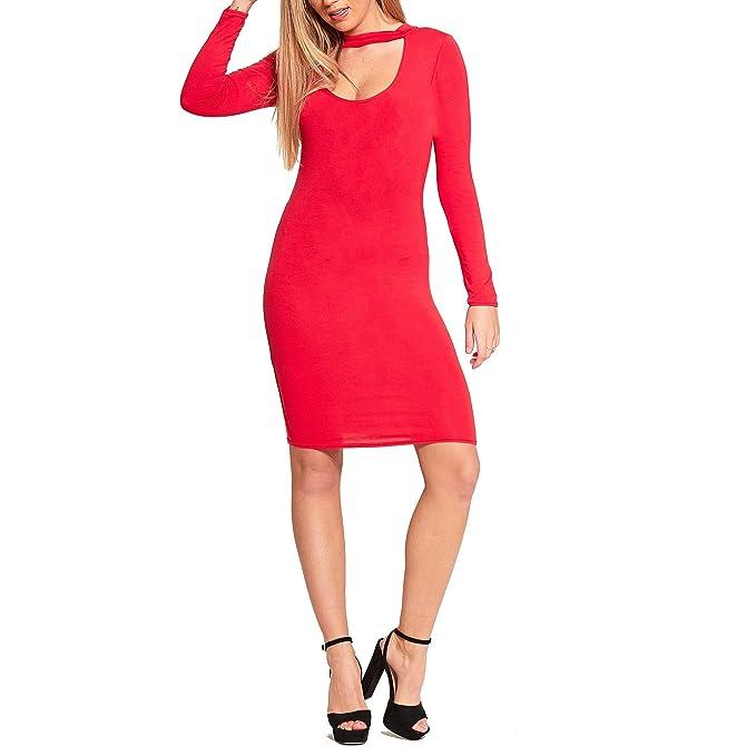 Simply Chic Outlet - Vestido - ajustado - Manga Larga - para mujer Negro rosso Medium