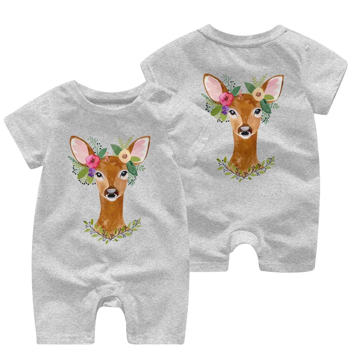 UGFGF/&3 Deer with Flower Crown Newborn Kids Short Sleeve Romper Jumpsuit Kid Pajamas 0-24 Months