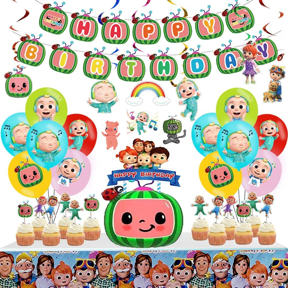 Coco-melon Birthday Party Supplies for Kids, Coco-melon Party Supplies Include Stickers, Birthday Banner, Coco-melon Cake Toppers, Tablecloth, Latex Balloons for Boys and Girls