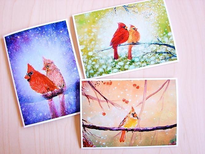 Amazon cardinals in love three pack fine art print greeting cardinals in love three pack fine art print greeting card set each card is m4hsunfo