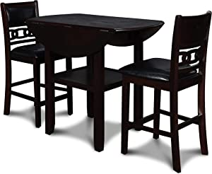 New Classic Furniture Gia Drop Leaf Counter Dining Table with Two Chairs, 42-Inch, Ebony