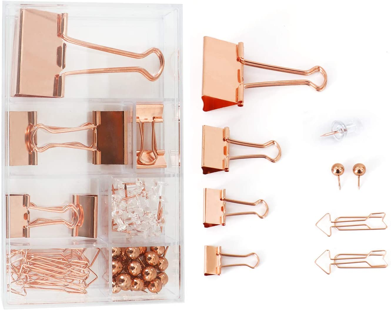 Binder Clips Assorted 4 Sizes, Arrow-Shaped Paper Clips, Push Pins, Metal Fold Back Clips with Transparent Box, for Office School Home Desk Supplies, 57pcs(Rose Gold)