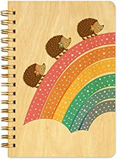 product image for Night Owl Paper Goods Marching Hedgehogs Pocket-Size Notebook with Real Wood Covers