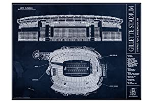 Gillette Stadium Blueprint Style Print