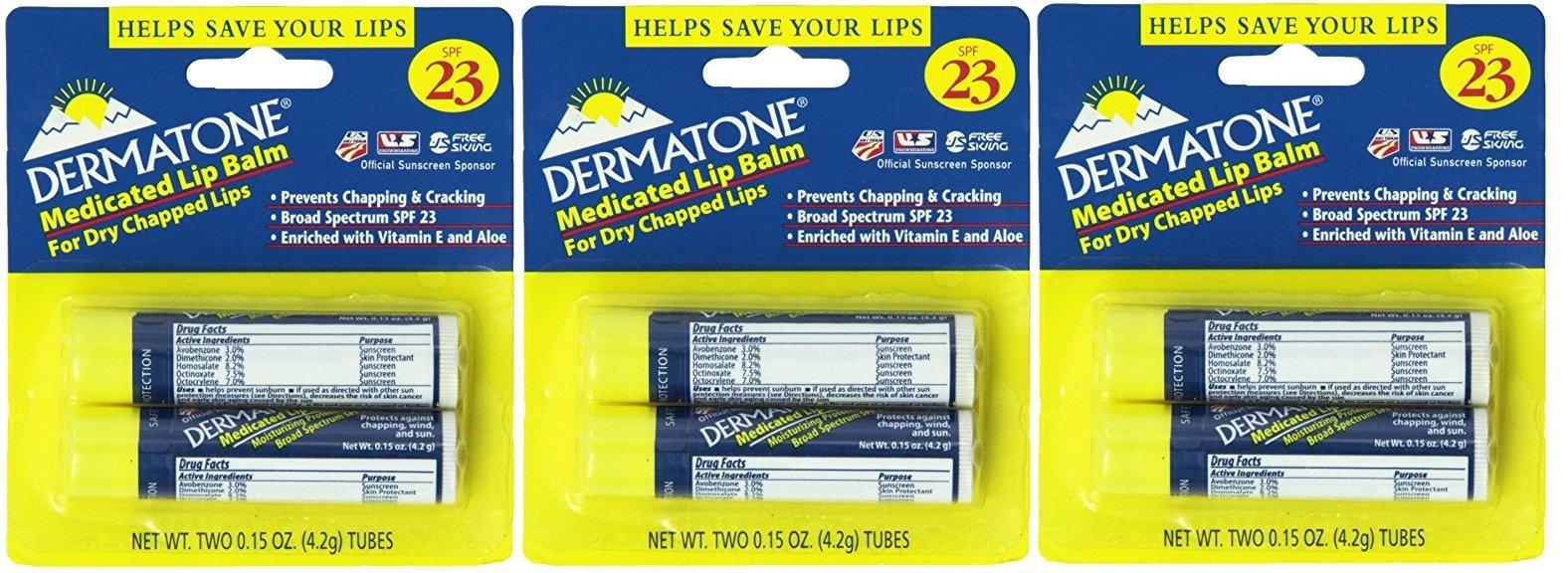 Dermatone Medicated Lip Balm SPF 23,0.15-Ounce, 6 Count by Dermatone