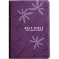 KJV Holy Bible, Compact Bible - Floral Purple Faux Leather Bible w/Ribbon Marker, Red Letter Edition, King James Version