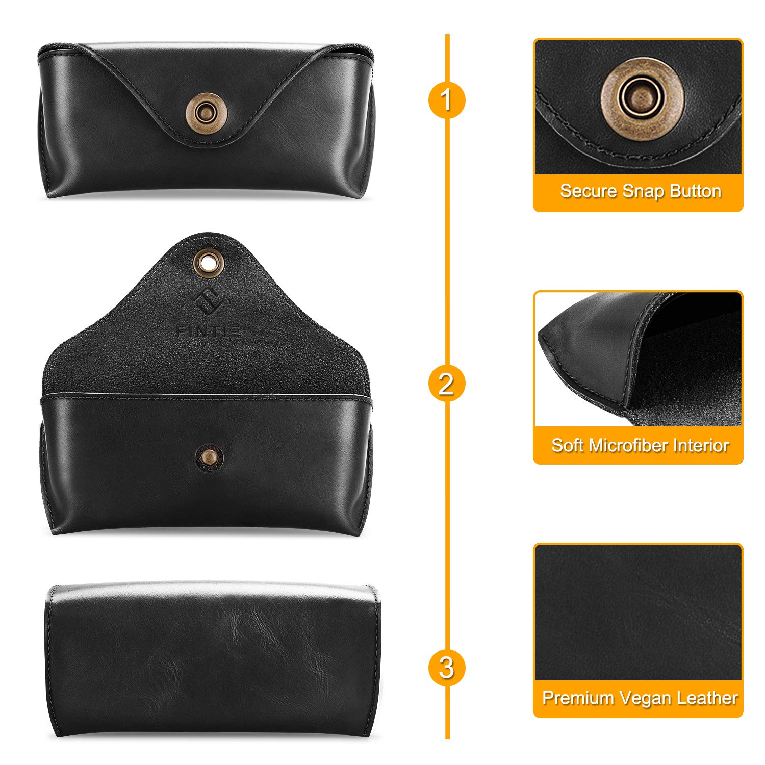 Fintie Portable Sunglasses Case, Semi-Hard Vegan Leather Glasses Carrying Case Eyewear Pouch with Snap Button Closure by Fintie (Image #3)