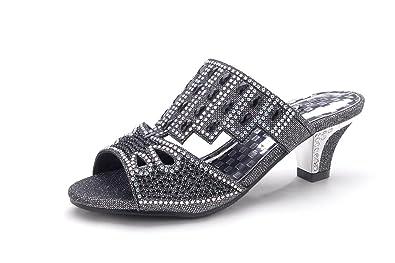 7ea21f9c99be Sparkle Slip On Little Girl's Rhinestone Dress Little Heel Party Shoes  CK39BLACK1