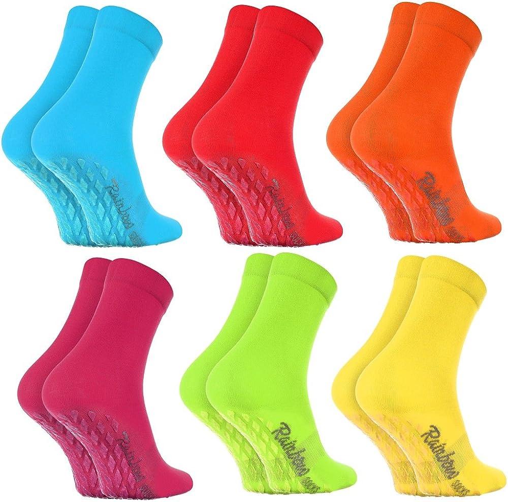 Rainbow Socks Damen Herren Bunte Baumwolle Antirutsch Socken ABS