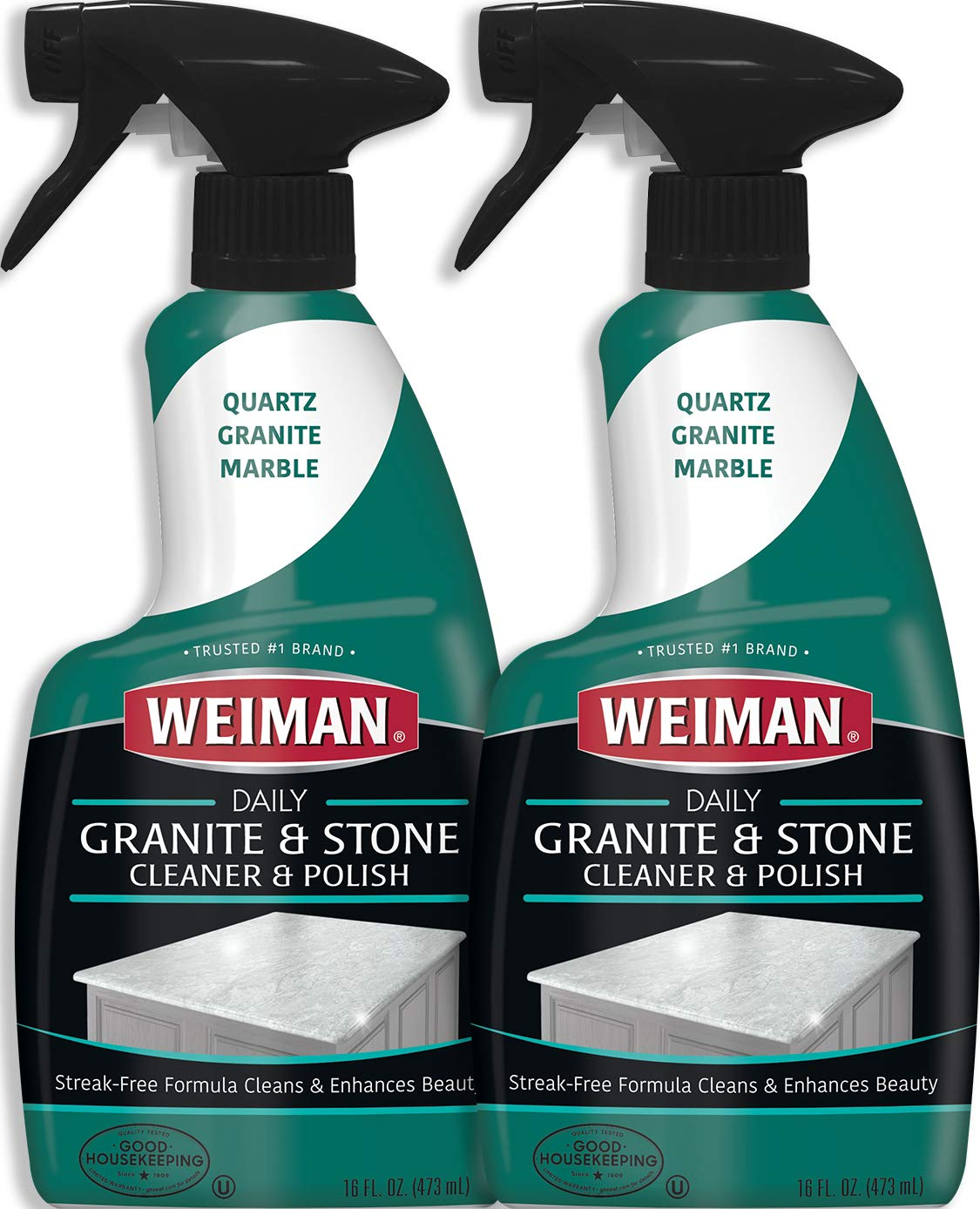 Weiman Granite Cleaner and Polish - 16 Ounce 2 Pack - Non Toxic for Granite Marble Soapstone Quartz Quartzite Slate Limestone Corian Laminate Tile Countertop and More by Weiman