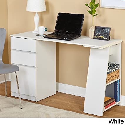 amazon com simple living como modern writing desk white kitchen rh amazon com  simple white desk with drawers