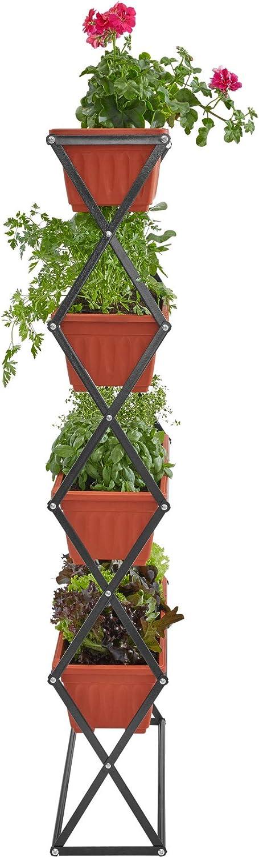 TecTake 403445 Jardinera Vertical, Estante 4 Macetas, Soporte Plegable, Estructura de Acero, Flores & Plantas, Jardin Exterior, Balcón Terraza: Amazon.es: Jardín