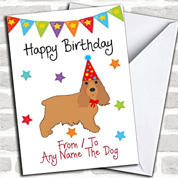 To From Dog Cocker Spaniel Customised Birthday Greetings Card Cards Pet