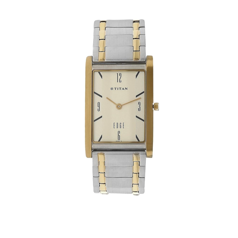Titan メンズ Edgeスリムアナログ腕時計 ミネラルクオーツガラス 世界で最もスリムな腕時計 メタル/レザーストラップ付き ゴールド/シルバー B071CMK78N ゴールド/シルバー ゴールド/シルバー
