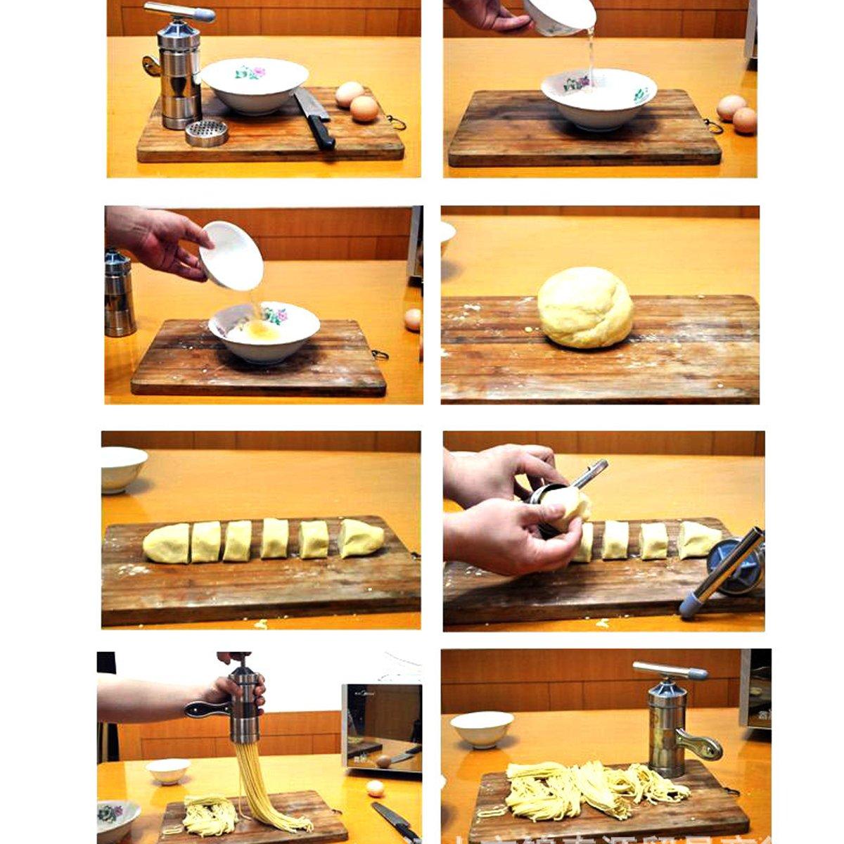 HQdeal port/átil Acero Inoxidable M/áquina para Hacer Pasta Hacedor de Fideos con 5 Plantilla