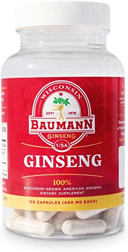 Baumann Ginseng Capsules- Authentic American Ginseng Capsules-Made in USA-100 Wisconsin Ginseng in Every Tablet- No Additives and Other Ingredients