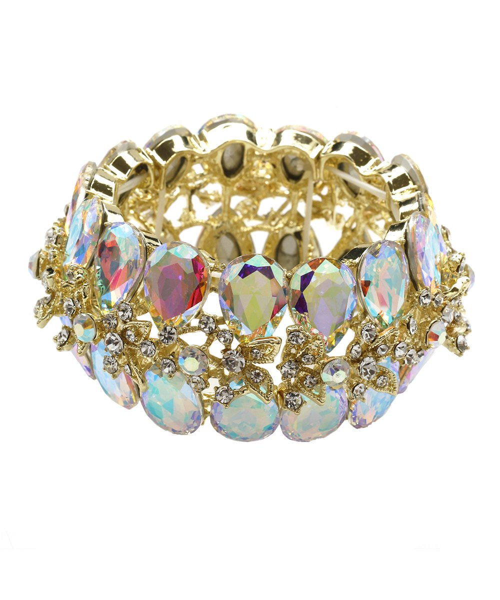 DK FASHION Aurora Borealis Butterfly Crystal Stretch Bracelet - One Size Fits Most for Prom, Bridesmaids, and Weddings (Gold/AB)