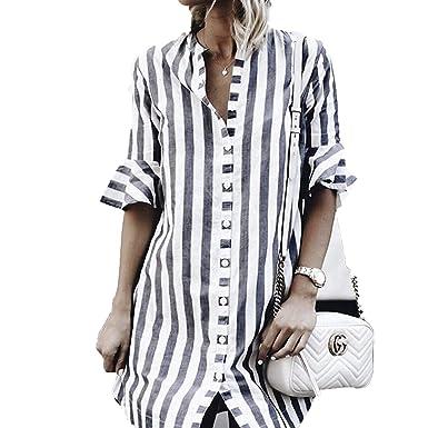 2018 Vestido de Verano Vintage del lino Blanco Rayas Mini Vestido Mujeres Elegantes Vestidos Streetwear coreano at Amazon Womens Clothing store: