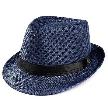 4aa57865498 Summer Straw Panama Fedora Hat for Women Men, Jiayit Unisex Trilby Gangster  Cap