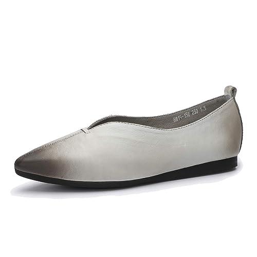 Mocasines Casuales y Puntiagudos de Mujer Mocasines de Cuero Genuino con Suela Blanda Zapatos cómodos de Primavera y Verano: Amazon.es: Zapatos y ...