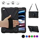 iPad Mini4 Shockpoof Case,BRAECN Three Layer Drop Protection Rugged Protective Heavy Duty iPad Case With a 360 Degree Swivel Stand/a Hand Strap and a Shoulder Strap For iPad Mini 4 Case (black)