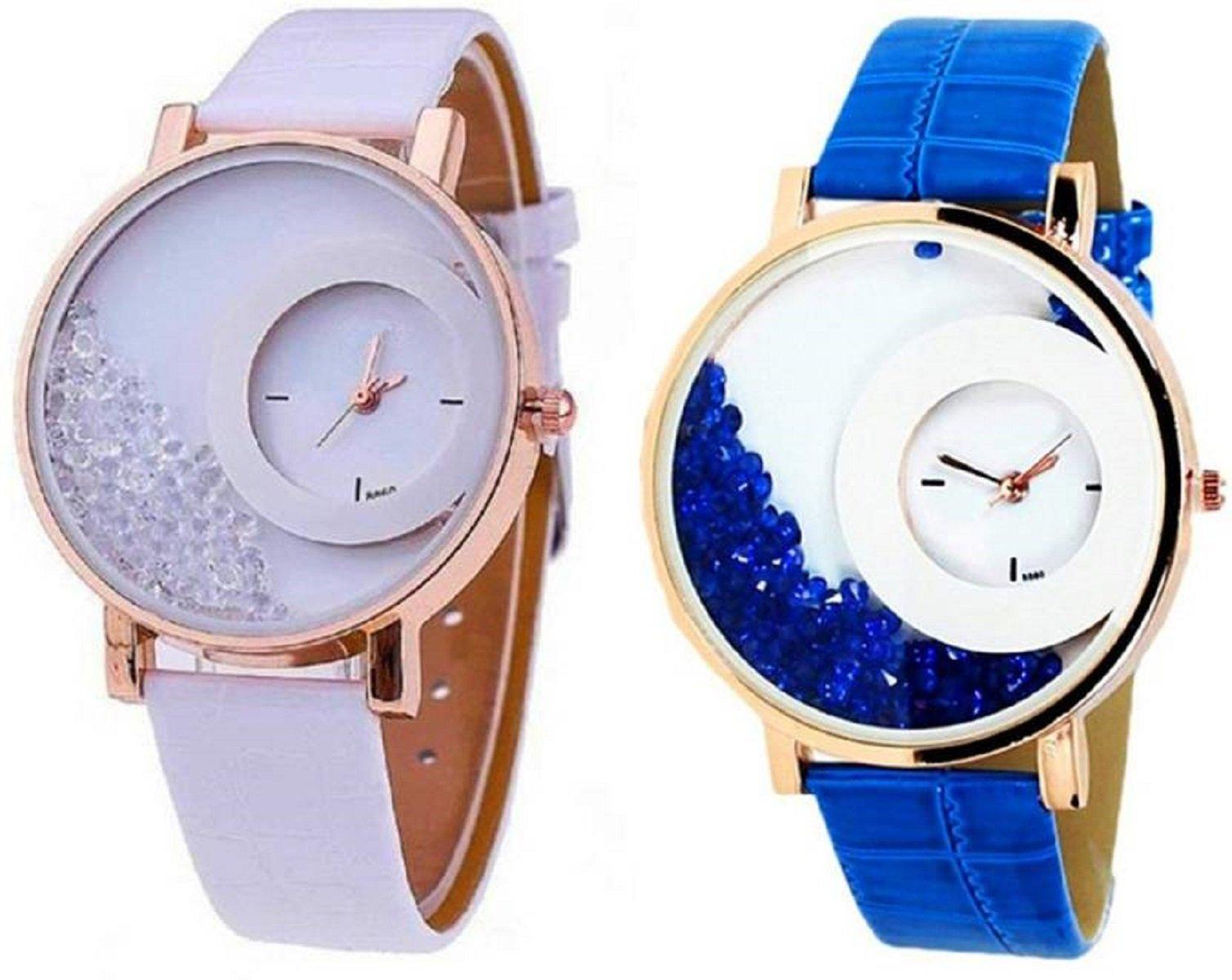 Freny Exim Quartz Analogue White and Blue Diamonds Multicolour Dial Leather Women's Watch (B079SXRY4P) Amazon Price History, Amazon Price Tracker