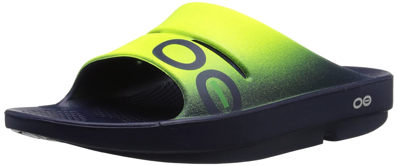 OOFOS Unisex OOahh Sport Slide Sandal B019G0846G 11 B(M) US Women / 9 D(M) US Men|Navy/Electric Yellow