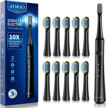 Atmoko Electric Rechargeable Power Sonic Toothbrush with 10 Heads