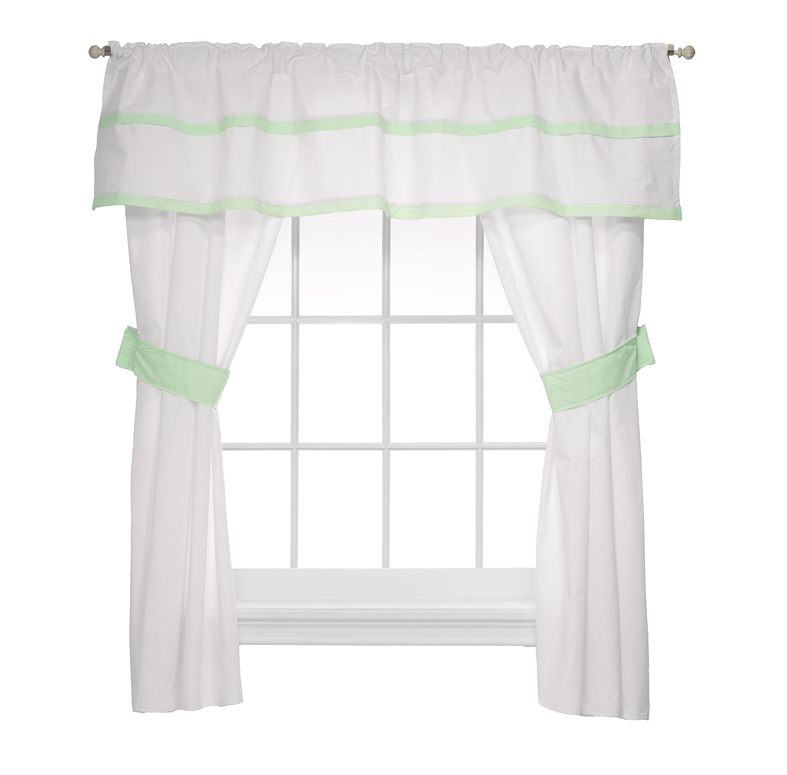 Baby Doll Medallion 5 Piece Window Valance and Curtain Set, Mint by Baby Doll