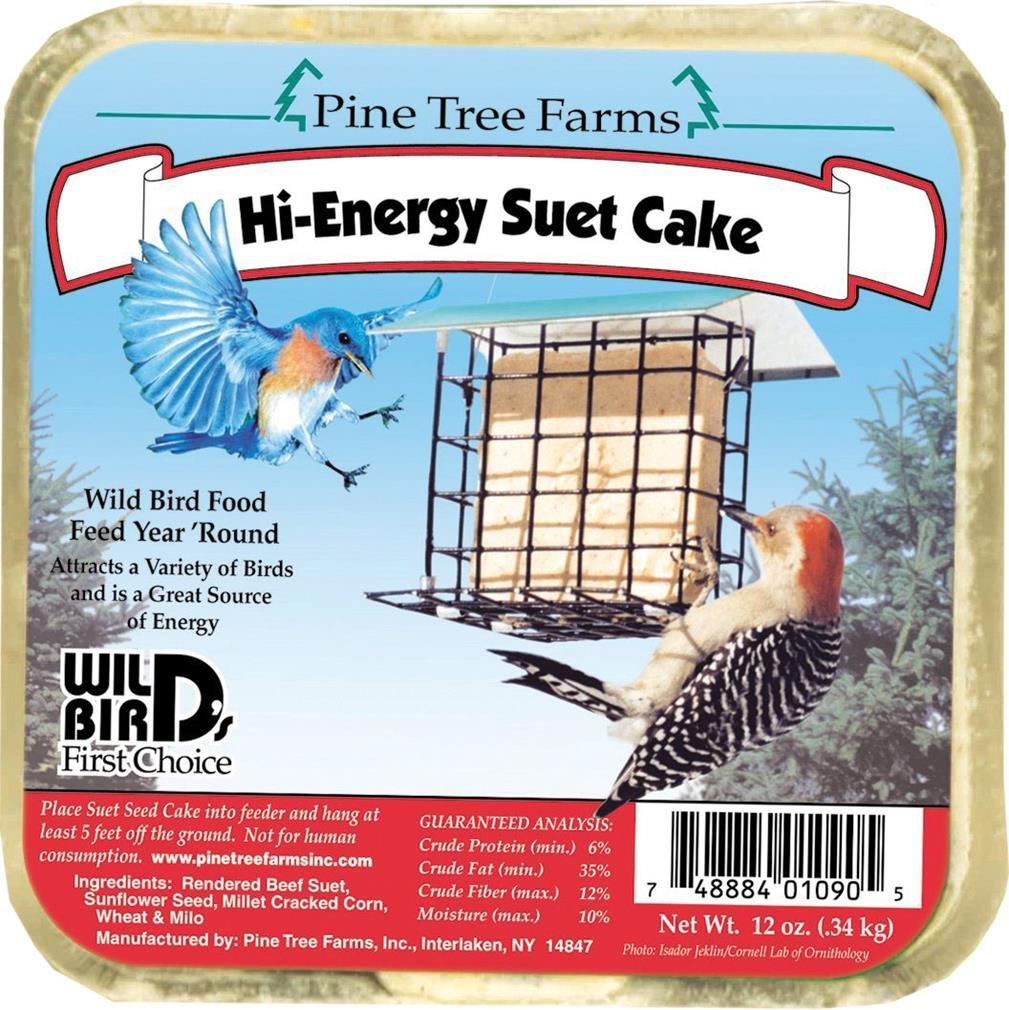 12 Pack Pine Tree Farms Hi-Energy Suet Cake Wild Bird Food 12 oz. by Pine Tree Farms