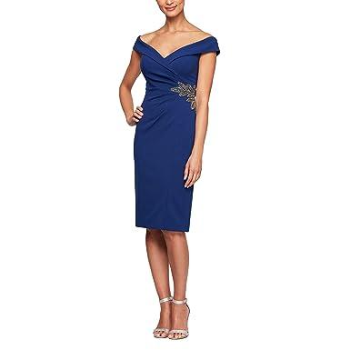cbc0da68f Alex Evenings Womens 8160212 Short Crepe Off-The-Shoulder Cocktail Dress  Sleeveless Cocktail Dress