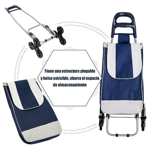 HOMCOM Carrito de Compra Carro Supermercado Plegable Subir Escaleras Marco de Acero Bolsa Impermeable y Extraíble 40x29x95cm Capacidad 30kg: Amazon.es: ...