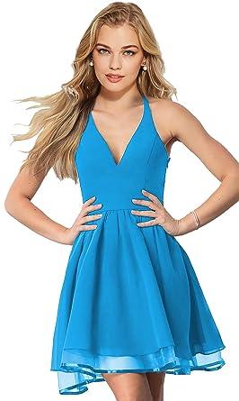 e12a0513e28 Lily Wedding Womens Halter Lace Chiffon Prom Dresses 2018 Short Homecoming  Party Dress Blue Size 2