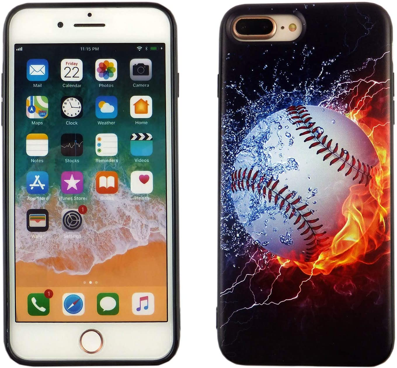 iPhone 8 Plus Case Baseball on Water, iPhone 7 Plus Case Baseball on Fire, IMAGITOUCH Anti-Scratch Shock Proof Clear Case Soft Touch Slim Fit Flexible TPU Case Bumper Cover for iPhone 8+/7+
