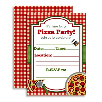 amazon com pizza party birthday invitations ten 5 x7 fill in