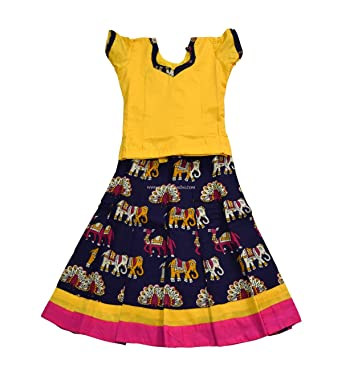 57e467913 Kalamkari Raw Silk/Pattu Pavadai Set Yellow and Violet for Baby Girls/Kids,